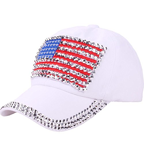 CRUOXIBB USA Bling Baseball Cap Sparkle American Flag Hat for Women Men Hip Hop Caps (White Cap - Bling Hat