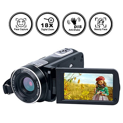 Video Camera Camcorder Full HD Digital Camera 1080p 24.0MP Night Vision Vlogging Camera 18X Digital Zoom With Remote Control by Gongpon
