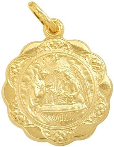 (14 Karat Gold Inscribed Religious Baptismal Medal Medallion with 16