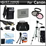 """Must Have Accessory Kit For Canon VIXIA HF R20, HF R21, HF R200 Full HD Camcorder Includes Extended (1500Mah) Replacement BP-110 Battery + Ac/Dc Travel Charger + Deluxe Case + Mini HDMI Cable + 50"""" Tripod w/Case + 3PC Filter Kit (UV-CPL-FLD) + Much More"""