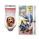 Orgrimmar Halloween Zombie Restroom Door Cover and Creative Skeleton Toilet Cover Sticker Scary Horror Fancy Dress Party Decoration