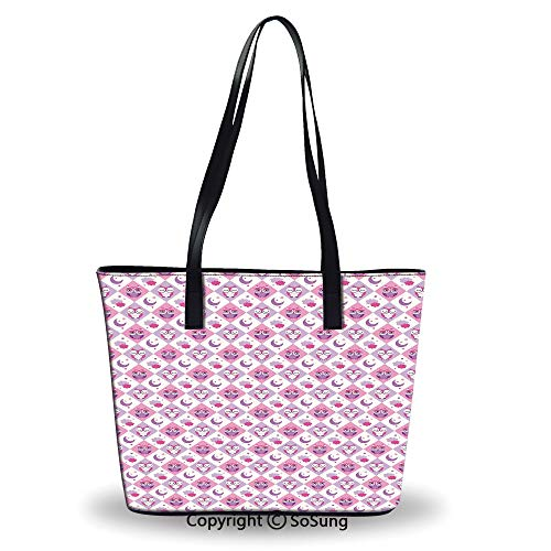 (Women's Tote Shoulder Bag,Rectangle Diamond Pattern with Funny Owls Sleeping Moo )