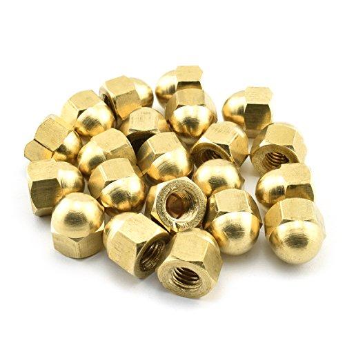 30pcs M6 Brass Hex Acorn Nuts Gold Hexagon Decorative Cap Nut Acorn Dome Head Nuts for Screws Bolts