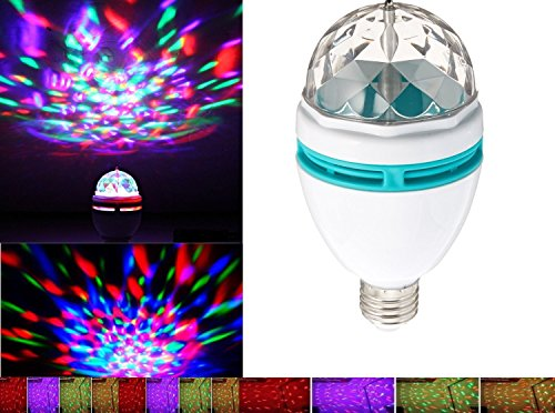 Ibepro Rotating Strobe LED Crystal Stage Light for Disco Party Club Bar Dj Ball Bulb Multi Changing Color