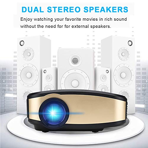 Projector DIWUER Wireless WiFi Projector (2018 Upgraded) Portable Video LED Projector Full HD 1080P Home Theater Projector Compatible with HDMI USB VGA AV Input for iPhone PC Laptop by DIWUER (Image #1)