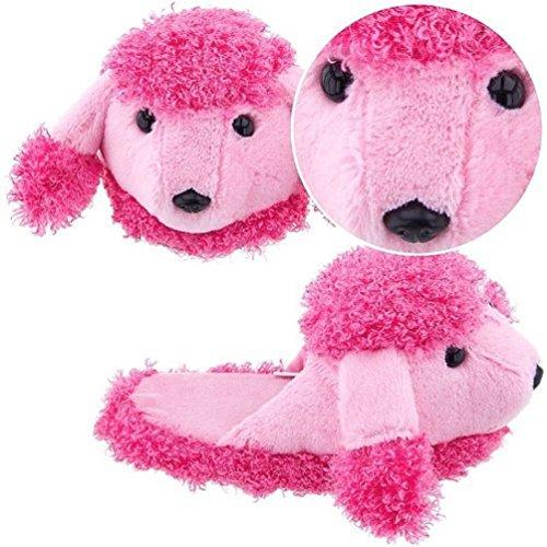 Pink Poodle Plush Animal Non-Skid Kids (Pink Poodle Shoes)