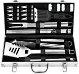 ROMANTICIST 20pc Must-Have BBQ Grill Accessories Set in Case - Stainless Steel Barbecue Tool Set for Backyard Outdoor Camping - The Very Best Grill Gift for Everyone on Christmas