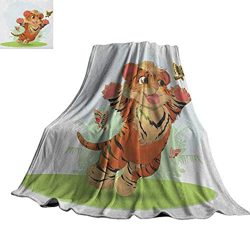 (Cartoon,Plush Throw Blanket Cub Playing with Butterflies in The Meadow Joyful Lively Baby Tiger Cat Throws for Couch Bed Living Room 60