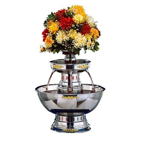 Apex 4003-GT Princess 5 Gallon SS Beverage Fountain with Gold Bow Tie Trim & Floral Cup by Apex Fountains