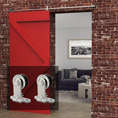 5FT/152cm Herraje Puerta Corredera Acero Inoxidable, Herraje para puerta Sistema Carril de acero inoxidable madera puerta corredera Puerta Corredera: Amazon.es: Bricolaje y herramientas