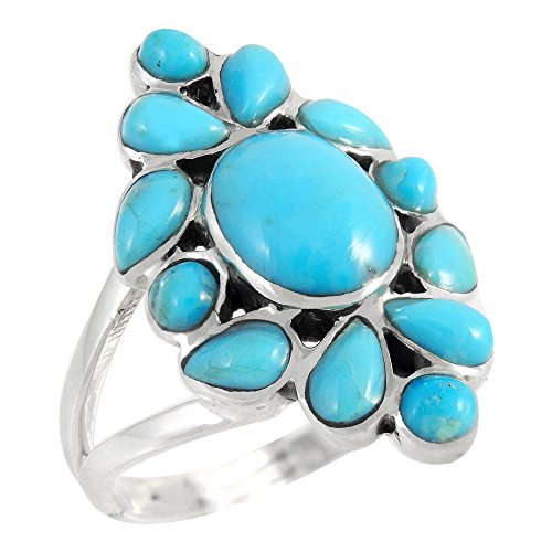 - Turquoise Ring in Sterling Silver 925 & Genuine Turquoise Size 6 to 11 (6)