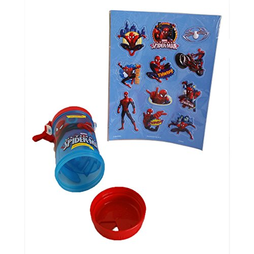 2 Piece Licensed Spiderman 12 Oz Drink Sip & Snack Canteen Water Bottle With Snack Compartment (Storage), Carrying Strap & 1 Metallic Foil Plastic Sticker Set in Poly Bag & Header