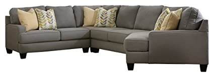 Ashley Furniture Signature Design - Chamberly 4-Piece Sectional - Left Arm  Facing Loveseat, Wedge, Armless Loveseat & Right Arm Facing Cuddler - Gray