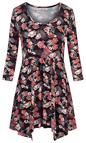 (BEPEI Tunic Tops for Women 3/4 Sleeve,Misses Pretty Light Weight Flower Print Figure Flattering Petite Blouse Crew Neckline Floral Extra Long Shirts for Leggings Mini Dress Spring Apparel Black Pink)