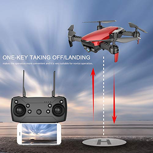 Choosebuy RC Drone with HD Camera, 0.3MP Wide Angle Camera FPV 2.4G/One Key Return/WiFi Control/Quadcopter/Headless Mode Toy Outdoor Gift for Beginners (Red) by Choosebuy (Image #2)