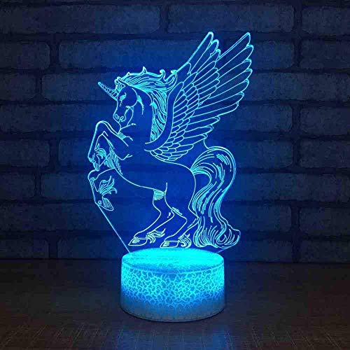 Home Decor Toy Children Holiday 7 Color Change 3D Led Unicorn Wings Table Lamp Gifts Kids Bedside Sleeping Night Light