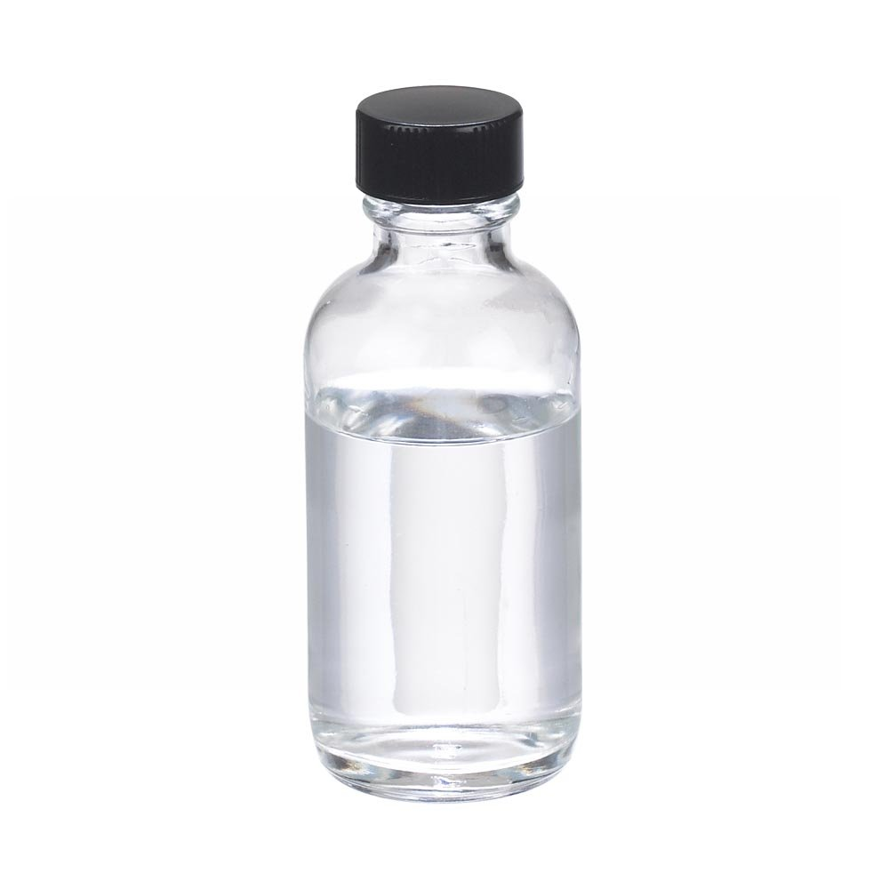 Case Of 48 Clear Glass Wheaton W216818 Boston Round Bottle Capacity 1oz With 20-400 Black Phenolic Rubber Lined Screw Cap Diameter 31mm x 79mm