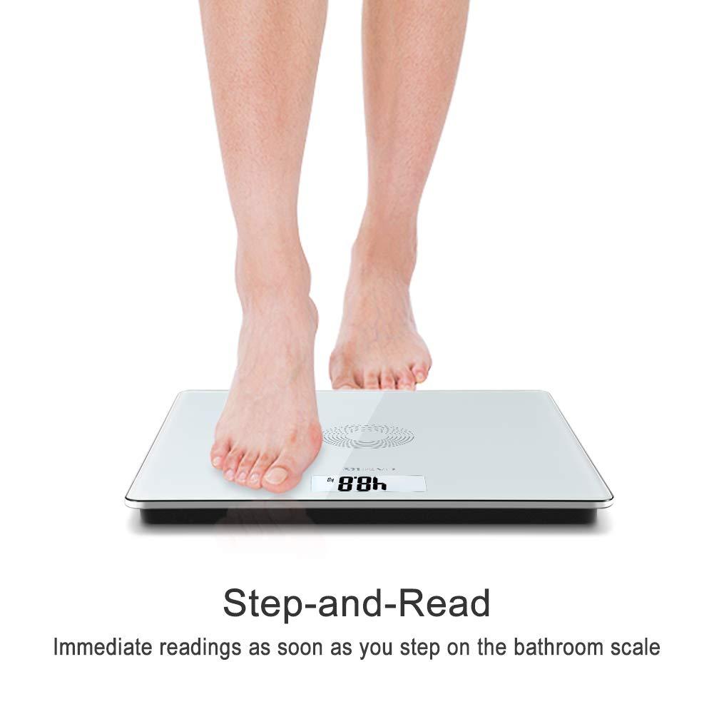 CAMRY Báscula de Baño Digital de Alta Medición Precisa 180kg/400lbs, Balanza Digital Baño,Vidrio Templado, Pantalla LCD, Auto Encendido/Apagado (5013W): ...