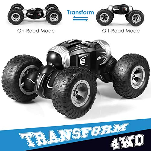 RC Car, FIged High Speed 4WD 2.4GHz Double-Sided Flip Remote Control Stunt Drift Car Buggy Vehicle One Key Deformation RC Twisting Toy, Climbing Off-Road Torque Car (Black)