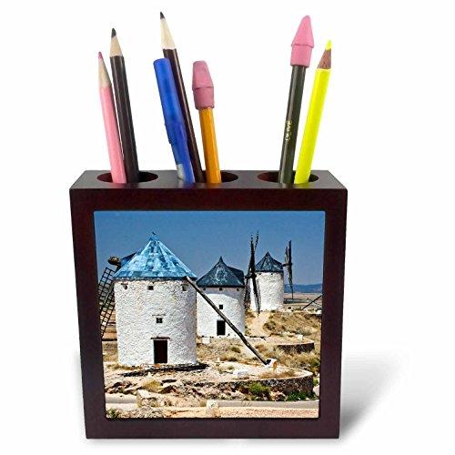 3dRose ph_208416_1 Spain, Castile-La Mancha Region, Toledo Antique La Mancha Windmills Tile Pen Holder, 5'' by 3dRose