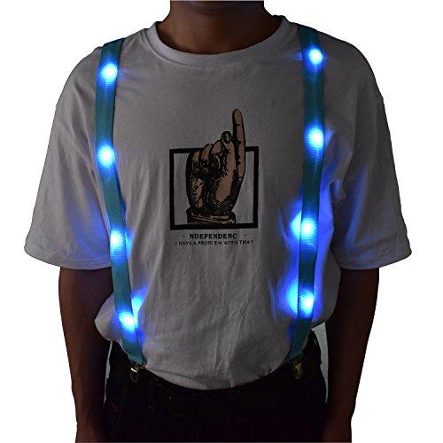 LED Glow Light Up Suspenders Trouser Braces Y Shape Suspenders (Blue) + Keychain