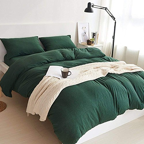 (DOUH Jersey Knit Cotton 3 Pieces Duvet Cover Set Ultra Soft Comforter Cover and Pillow Shams Comfy Breathable&Lightweight Solid Dark Green Bedding Set Queen Size)