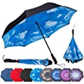 Repel Reverse Folding Inverted Umbrella with 2 Layered Teflon Canopy and Reinforced Fiberglass Ribs