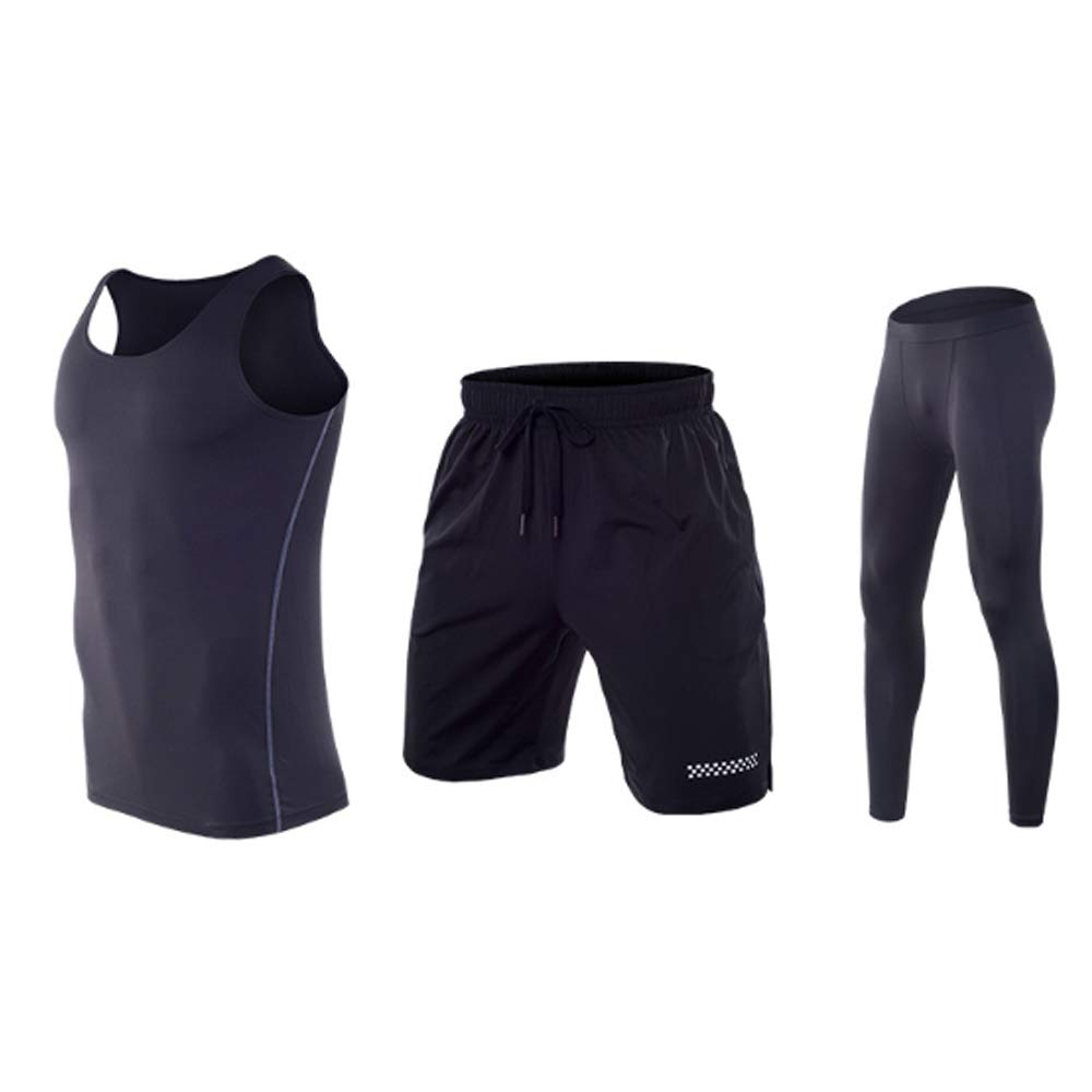 QJKai Sportanzug Herren schnell trocknende Weste Fitnesstraining Laufbekleidung dreiteilige Sportbekleidung