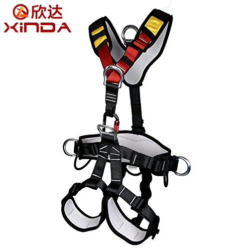 Full Body Climbing Harness (Outdoor Professional Rock Climbing Full Body Safety Belt Harnesses Anti Fall Protective Gear Safe Seat Belts Outward Band Fire Rescue Safe Harness For Mountaineering Rappelling Equip XINDA)