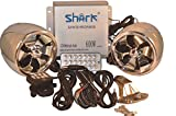 Shark 600 Watt Motorcycle Boat Snowmobile Audio System, 4 x 3'' Waterproof Stylish Speakers, LCD Screen, Wired & Wireless Remote, Model SHKAMP58006800, Chrome