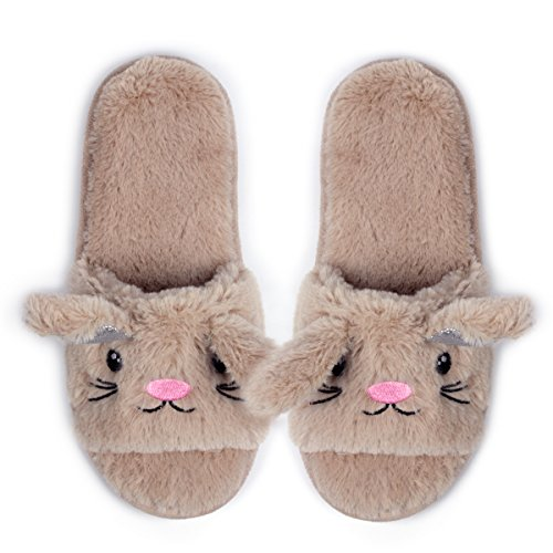 Womens Open Toe Slippers | Cute Bunny Unicorn Animal Slipper | Soft Fleece Memory Foam Clog | Anti-Slip Sole Indoor Outdoor Shoes | Flip Flop Spa Slippers (9-10, BrownBunny) by Caramella Bubble (Image #3)