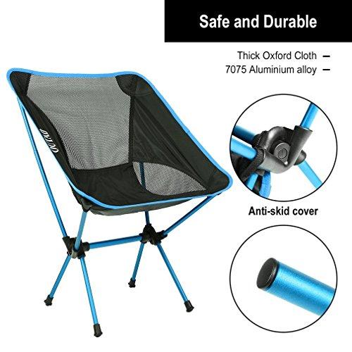 Chaise de camping, Leshp Capacité de 149,7kilogram léger Chaise pliante portable Compact pour randonnée, randonnée, pique-nique, la pêche avec sac de transport