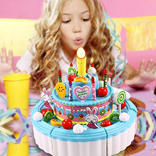 Dtemple Children Triple Layer Pretend Play Cake Set Toys Party With Candles Musical Blue