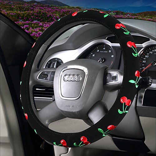 Steering Cover Wheel Cherries - Follicomfy Automotive Embroidery Cute Car Steering Wheel Cover for Girls,Ladies And Women-Cherry
