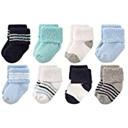 Luvable Friends Baby 8 Pack Newborn Socks, Mint Navy Stripes, 0-6 Months