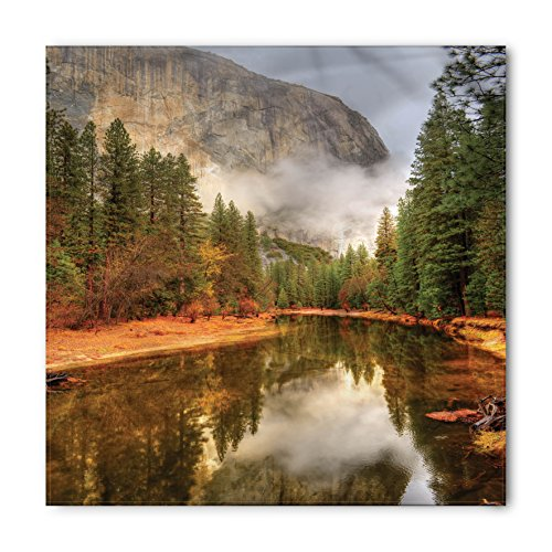 Yosemite Bandana by Ambesonne, Trees Reflections on Merced River Yosemite Valley National Park California in the Fall, Printed Unisex Bandana Head and Neck Tie Scarf Headband, 22 X 22 Inches, - Mercedes Valley
