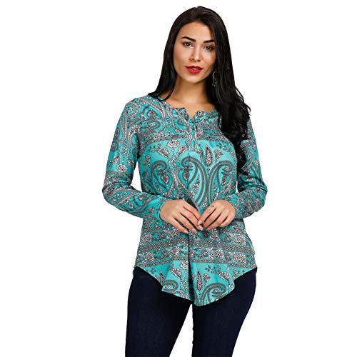 Women's Paisley Printed Tops Henley V Neck Pleated Casual Flare Tunic Blouse Shirt