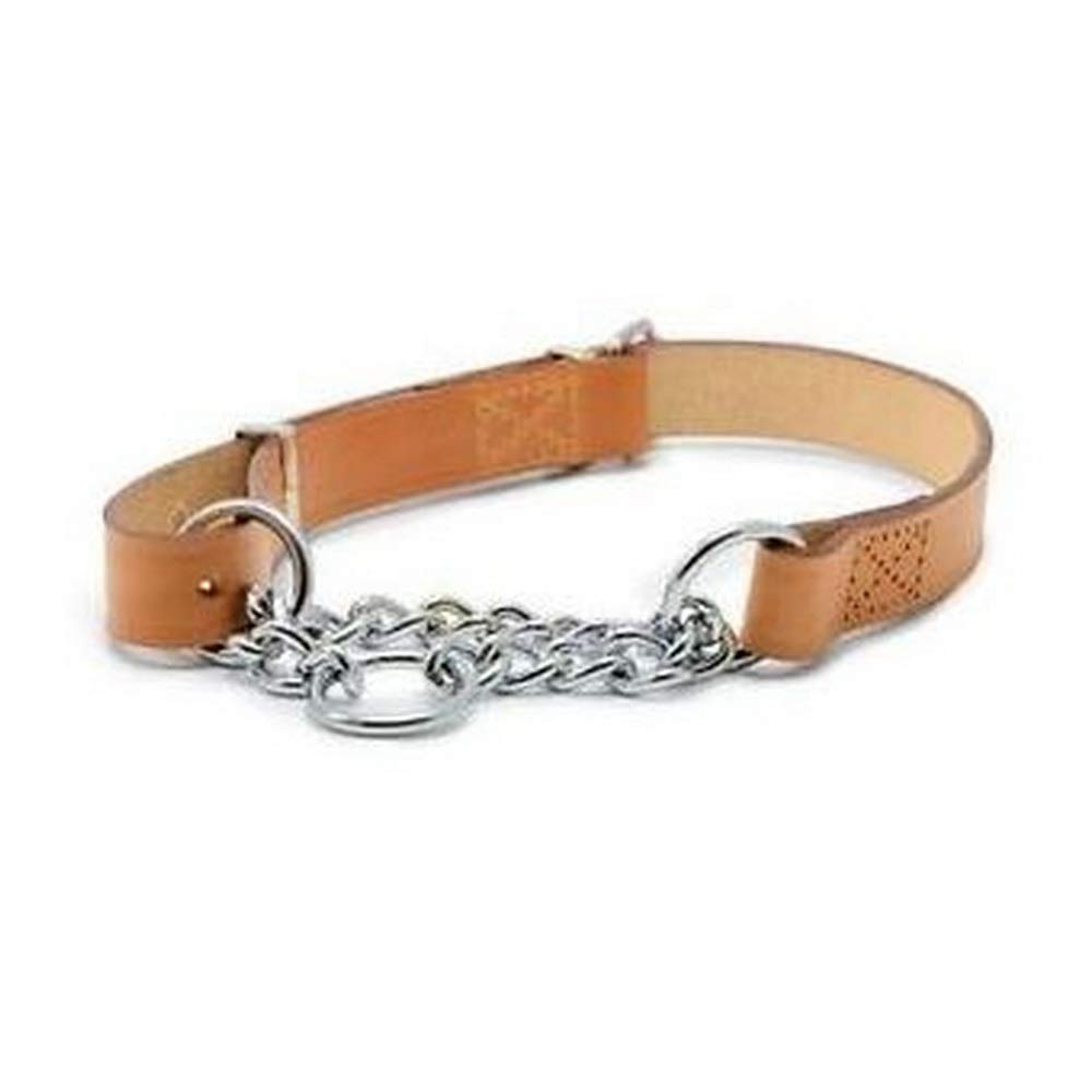 Ancol Heritage Leather Chain Check Collar Tan 60cm 24 Sz 7