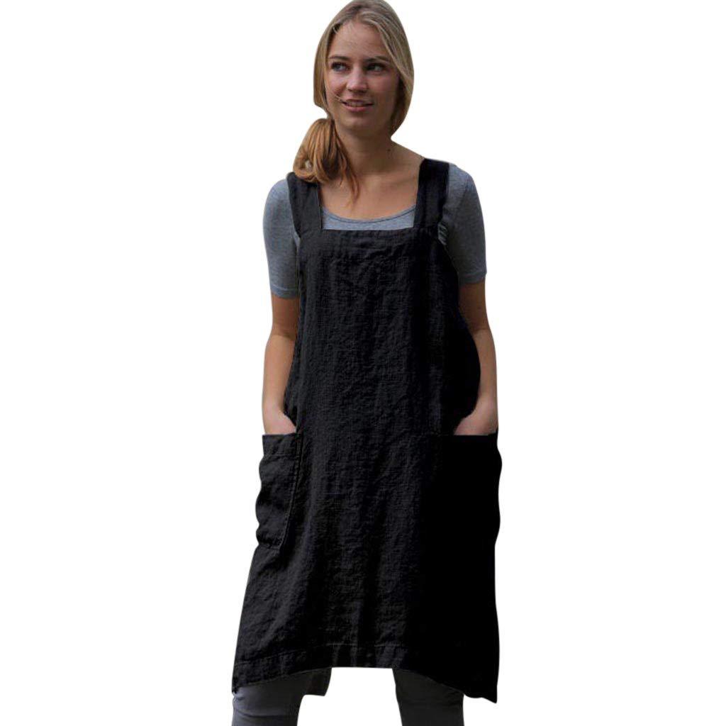 Keliay Bargain Women Cotton Linen Pinafore Square Cross Apron Garden Work Pinafore Dress Black
