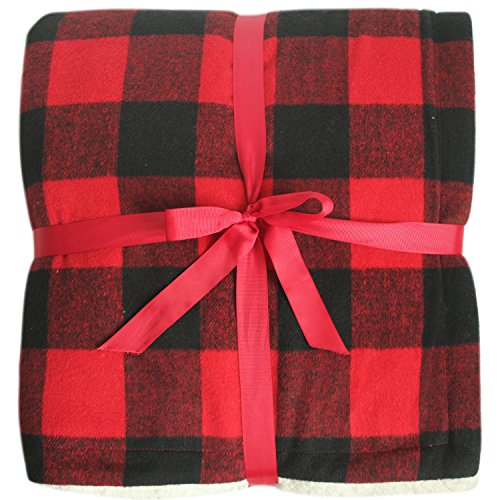 Gireshome Buffalo Check Red and Black Plaid Face, Reversing to Sherpa Throw,Double Layers High Density Thick Soft Warm Blanket - 50