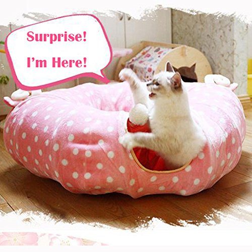 LukPaw Cat Toys Kitten Tunnel Portable Tube Cat Scratcher Collapsible Toy with Dangling Balls (Pink) by LukPaw