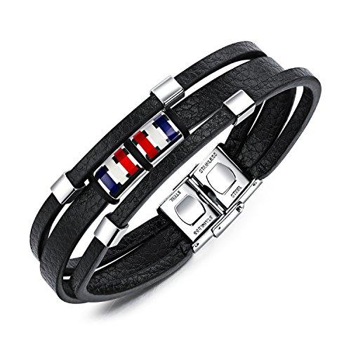 BABYEN OPK Multilayer Brown Leather Bracelet for Men Handmade Braided Rope French Flag Color Bead Male Warp Bracelet Gift - Rope Bracelet French
