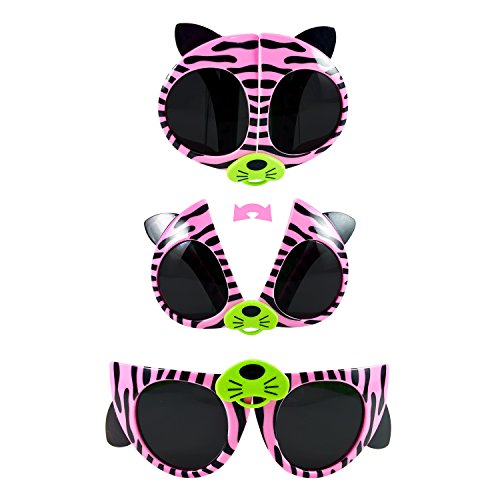 Folding kids sunglasses (pink and green, - Cat Kitty Sunglasses