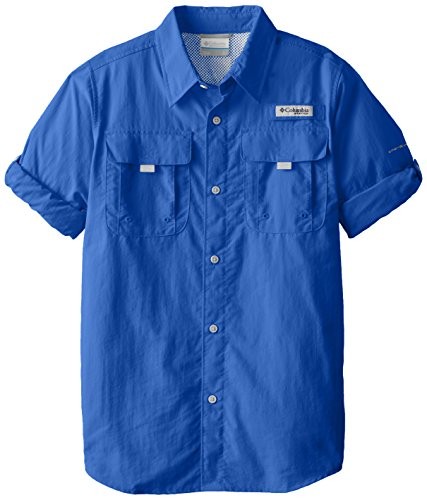 Columbia Boy's Bahama Long Sleeve Shirt, Vivid Blue, Large