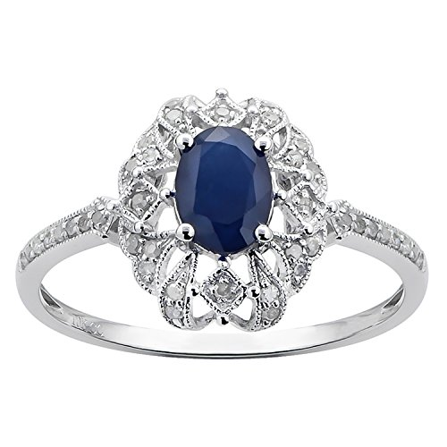 (10k White Gold Genuine Oval Vintage Style Sapphire and Diamond Ring)