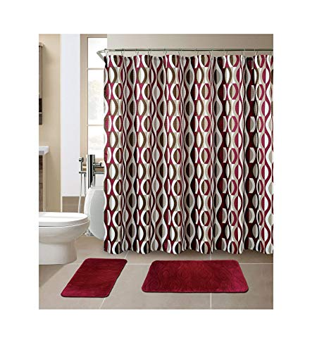 All American Collection New 15 Piece Bathroom Mat Set Memory Foam with Matching Shower Curtain (Helix Burgundy) (Shower Set Red Curtain)