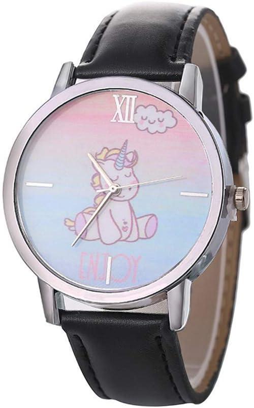 TLZR 1 Pieza Relojes de Cuarzo para niños Reloj de Pulsera de Moda Reloj de Pulsera de Metal Estilo Unicornio Reloj con Correa de Cuero PU para Estudiantes niñas niños Dial de 40mm de diámetro Black