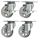 4 All Steel Swivel Plate Caster Wheels w Brake Lock Heavy Duty High-gauge Steel Gray (3.5'' Combo)