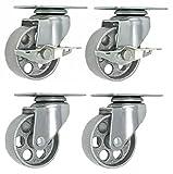 """Online Best Service 4 All Steel Swivel Plate Caster Wheels w Brake Lock Heavy Duty High-gauge Steel 1500lb total capacity Gray (3"""" Combo)"""