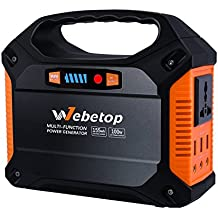 Webetop Portable Generator Power Inverter Battery 155Wh 42000mAh 100W Camping Emergency Home Use UPS Power Source Charged by Solar Panel/ Wall Outlet/ Car with 110V AC Outlet,3 DC 12V,3 USB Port